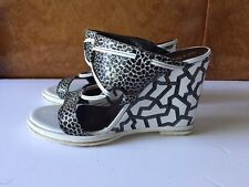 Opening Ceremony Mae Black and White Wedges in box UK7