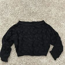 Free People Med M Black Sweater Crop Cropped Knit Off the Shoulder Braided Boat