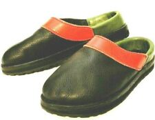 GOODYEAR sole blue green red LEATHER soft comfort clogs slides 8M excellent!