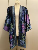 New! Small SUSAN GRAVER Floral Embroidered Open Front Tunic Kimono Jacket S