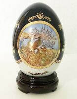 1 pc Gold and Blue Theme Porcelain Ceramic Egg Statue in Peacock Graphic Design