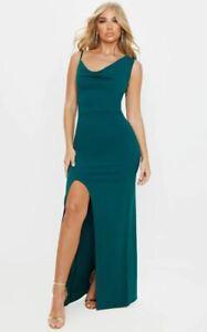New PRETTYLITTLETHING Green Asymmetric Cowl Neck Maxi Dress Sizes 6 8 12 RRP £20