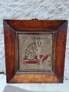 Antique Cat Tapestry In Frame.