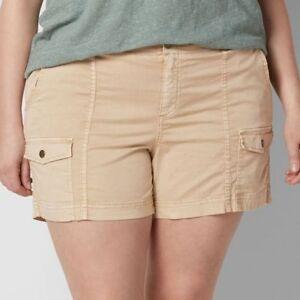 SONOMA Goods for Life Comfort Waist Cargo Short Woman Plus Size 24W Lt Beige NWT