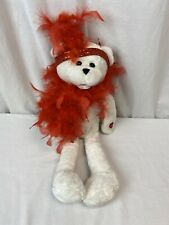 "PBC Singing Bear sings: ""I Wanna be loved by you"" 17""  Valentine White red boa"