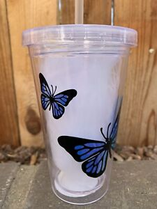 New Butterfly Tumbler Plastic Cold Cup Holographic Detail 16 oz Handmade