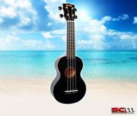 MAHALO Rainbow Series Soprano Ukulele MR1-BK BLACK Finish Aquila Strings Gig Bag