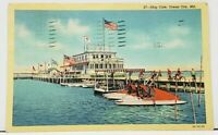 Ocean City Md SHIP CAFE and BOAT DOCKS Worcester Co Maryland c1940 Postcard I8