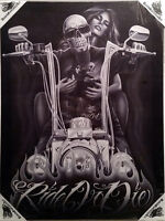 DGA Motorcycle Ride or Die My Old Lady Stretched Canvas Wall Art 12x16 Inches