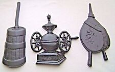 1970's Homco Sexton 3 Metal Kitchen Wall Plaques Bellows Churn & Coffee Grinder