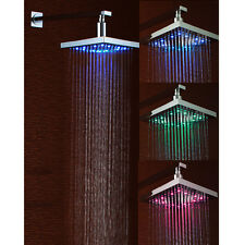 "8"" Square Bathroom LED Light Rain Top Shower Head 3 Colors Automatic Changing US"