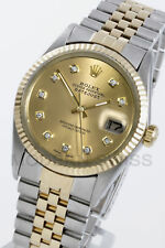 Rolex Mens Datejust Gold/SS Champagne Diamond Dial Fluted Jubilee 16013 Quickset