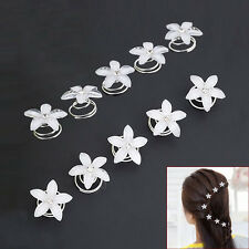 5PCS Crystal Bridal Hair Spin Pins Twists Coils Flower Swirl Spiral Hairpins