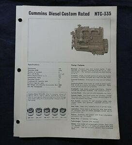 "1966 GENUINE CUMMINS ""CUSTOM RATED NTC-335 DIESEL ENGINE"" SPECIFICATION BROCHURE"