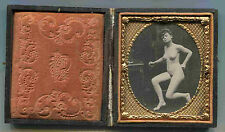 RISQUE FRENCH NUDE  1/6 CALOTYPE CASED  c1880