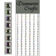 150 x 4mm Clear Iridescent AB Diamante Self Adhesive Strips Rows Rhinestone Gems