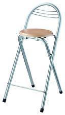 2x Sitzhocker Küchenstuhl Barhocker silber mit Buche Sitzfläche - Klapphocker