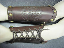 Hand Carved Celtic Knot Leather Bracers Armor Cuffs LARP COSPLAY