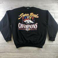 VTG Denver Broncos Mens Sweater XL Super Bowl Champions XXXII Logo 7 NFL Black