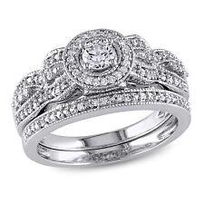 Amour 1/2 CT TW Diamond Halo Multi-Row Bridal Set in 10k White Gold