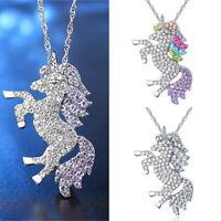 chaîne les femmes multicolor pendentif 925 argenté licorne collier pierre