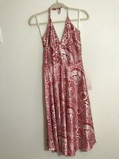 NEW Alyn Paige Size 7/8 Red And White Silky Satin Feel Halter Fit Flare Dress
