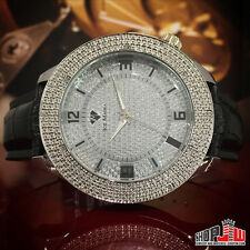 Ice Mania Mens Real 12 Diamond Watch Black Leather Band Simulated Dial Fashion