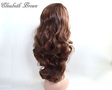 Layers Brown Light Brown Highlights Long Curly 3/4 Wig Hairpiece Half Wig