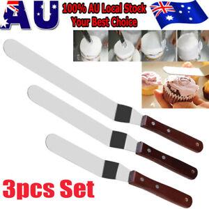 3Pcs Icing Butter Cream Cake Sandwich Spatula Set Pastry Foundant Baking DIY  AU