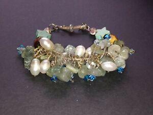 Aquamarine, pearl, turquoise, tigers eye, moonstone silver bracelet Ooak handmad