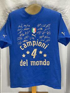 PUMA 2006 FIFA ITALIA CAMPIONI DEL MUNDO SIGNED  VINTAGE PRE-OWNED TSHIRT SIZE M