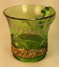 Old Antique EAPG Souvenir Green Glass Cup Blanchardville WI Wis Lafayette County