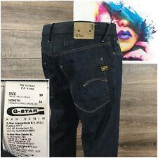 G-Star Raw 3301 Lumber Original Jeans Dark Wash Button Fly Men's Size 36X30