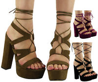 WOMENS STRAPPY LACE UP PLATFORM PARTY LADIES HIGH BLOCK HEEL SHOES SANDALS SIZE