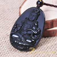 Obsidian Guanyin Pendant + Necklace Chain rope Wholesale Women Rainbow Charm
