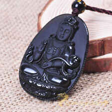 rope Wholesale Women Rainbow Charm Obsidian Guanyin Pendant + Necklace Chain