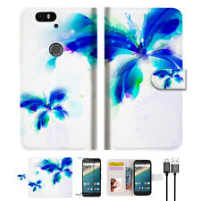 Blue Butterfly Wallet Case Cover For Google Pixel 2 XL-- A009