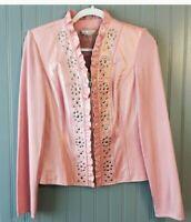 PETER NYGARD Ruffle Leather Jacket Sz M Med Pink Silver Studded Coat EUC