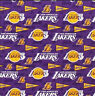 "LA Lakers Pennants Cotton Fabric - 1/4 yard (9""x44"") Quarter Yard"
