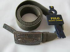 NWT Ralph Lauren Plaque Buckle Cotton Belt Military Style Size S $98