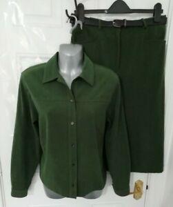 ❤ JUMPER 12 Green Soft Feel Button Up Shirt Skirt Belt Outfit Set Suit Country