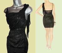 Karen Millen Metallic Jacquard Metallic Black Lace Chiffon Drape Dress UK 10  38
