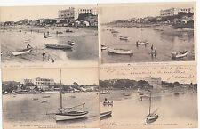 Lot de 4 cartes postales anciennes ARCACHON plage