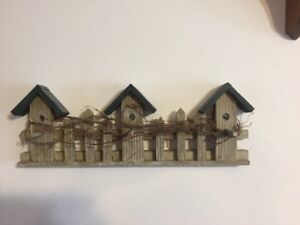 "PRIMITIVE DECORATIVE WOOD  BIRDHOUSES WITH PICKET FENCE. 14 3/4"" LONG X 5 1/4"""