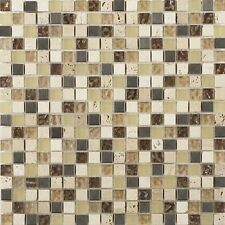 Athens beige travertine glass & metal mix mosaic tiles
