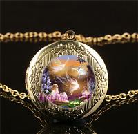 Fairy Ballet Photo Cabochon Glass Gold Plating Locket Pendant Necklace