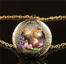 Fairy Ballet Photo Cabochon Glass Gold Plating Locket Pendant Necklace