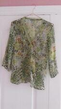 Ladies per Una green/brown long sleeve floral top size 10