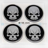 4 x Silikon Nabenkappen Aufkleber Totenkopf Skull Head Emblem - 55 mm - NEU