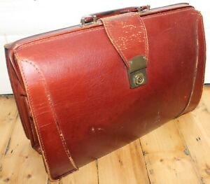 Lovely Genuine Vintage Brown Leather Doctors Bag / Briefcase - Made in England